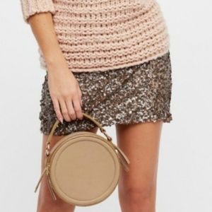 FREE PEOPLE Gold Sequin Mini Skirt W/Stylish Zip